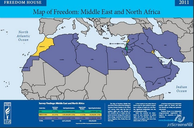 Freedom House Map Iran Dictatorship Internal Violence