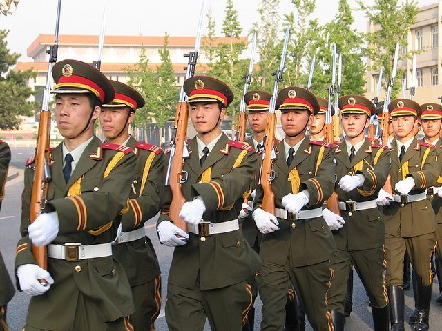Many China Soldiers Marching
